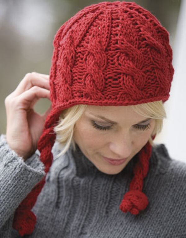 bonnet-en-crochet-bonnet-rouge-avec-pompoms
