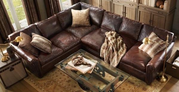 canapé-en-cuir-brune-canape-angle-chambre