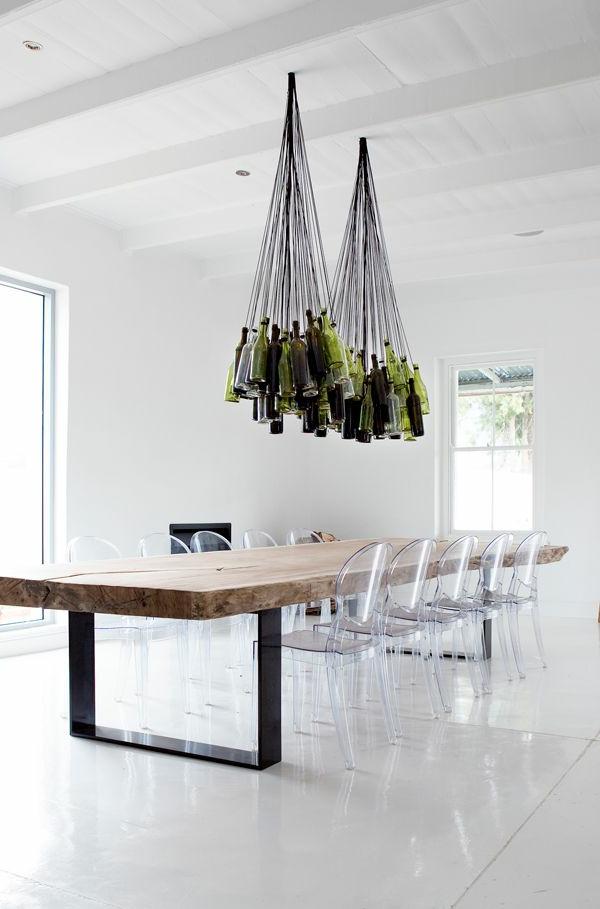 chaise-transparente-salle-à-manger-blanche