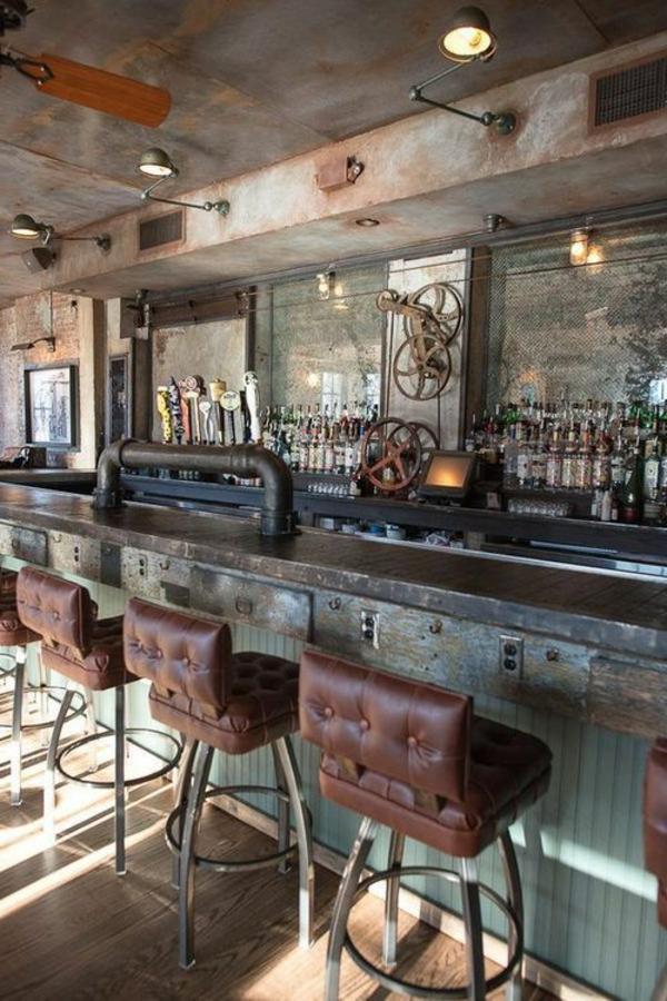 chaises-hautes-de-bar-bois-vintage-cuir