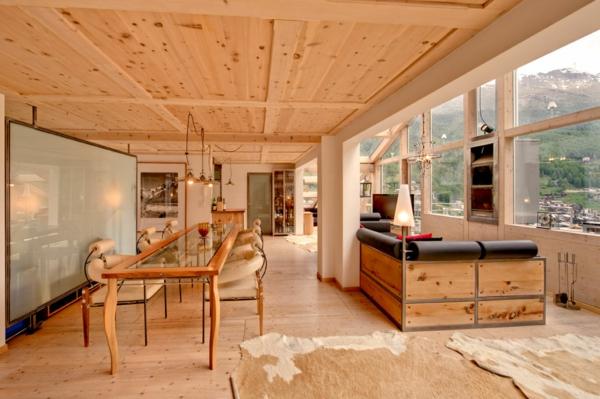 chalet-suisse-bois-clair-et-fenêtres-panoramiques