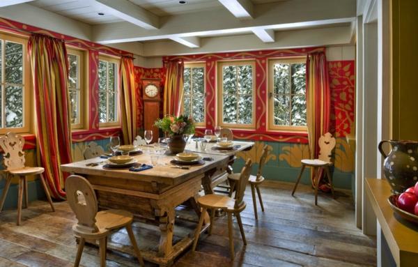 chalet-suisse-salle-de-déjeuner-rustique