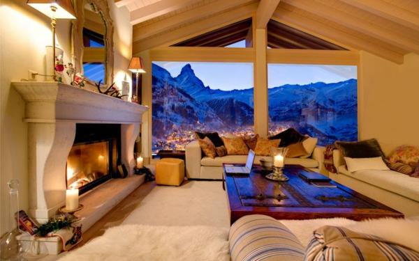 chalet-suisse-salle-de-séjour-avec-une-vue-sur-les-Alpes