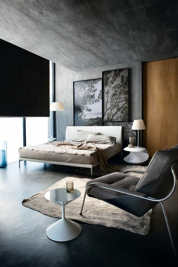 chambre-à-coucher-murs-gris-intérieur