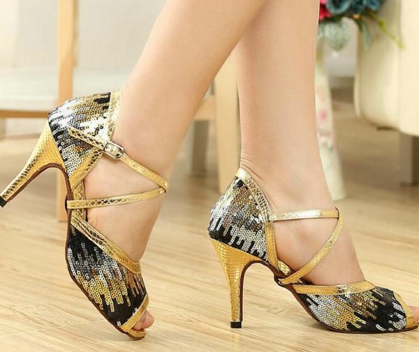 chaussures-de-salsa-chaussures-pailletées-en-jaune-et-noir