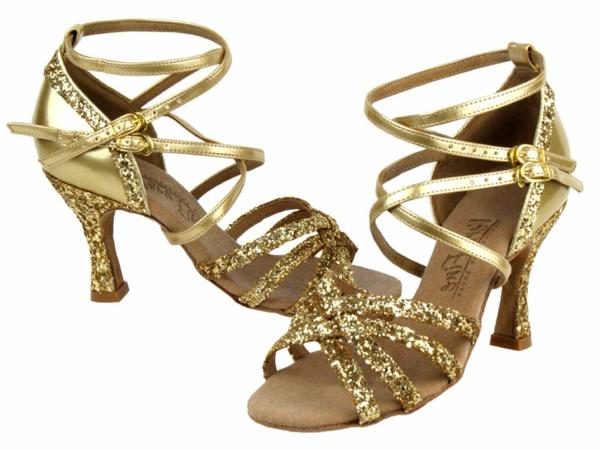 chaussures-de-salsa-dorées-et-pailletées