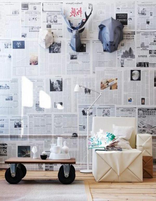 colleuse-papiers-peints-faites-de-papiers-de-journaux-diy-déco-de-mur