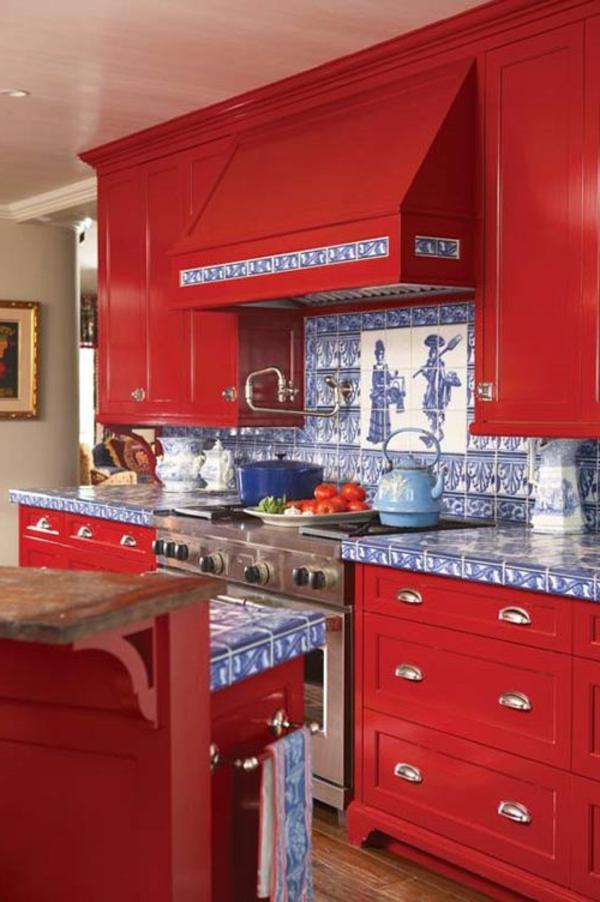 cuisine-moderne-rouge-meuble-intéressant