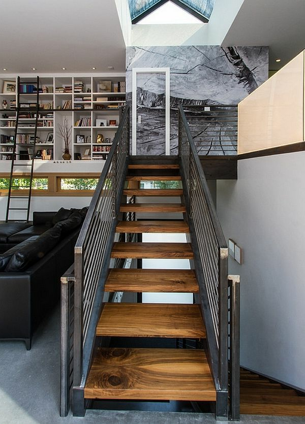 escalier-loft-en-bois-et-fer-intérieur-de-deux-niveaux