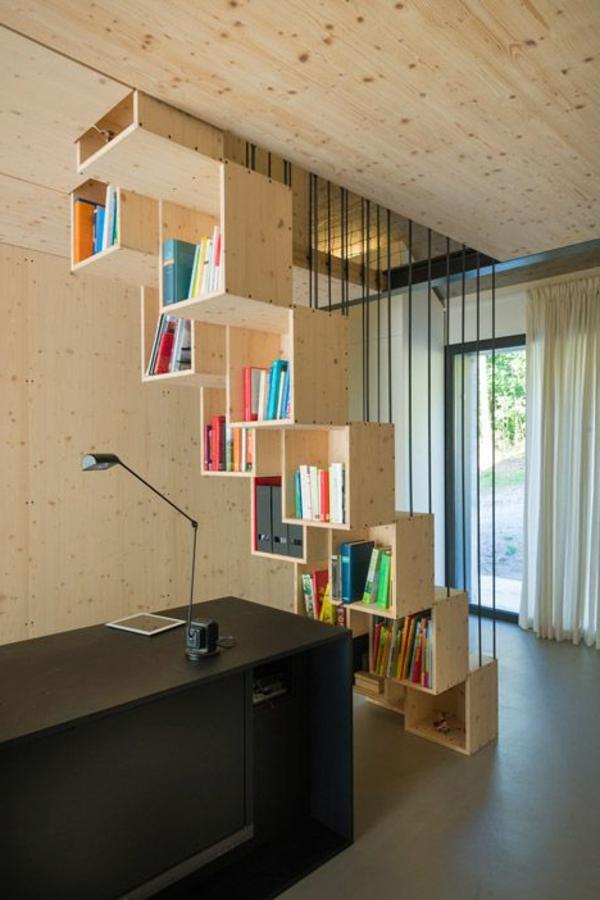 escalier-loft-et-bibliothèque-design-en-bois