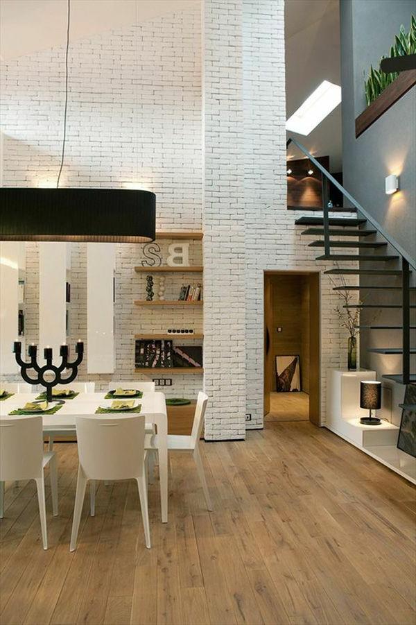 escalier-loft-flottant-salle-de-déjeuner-et-étagères-flottantes