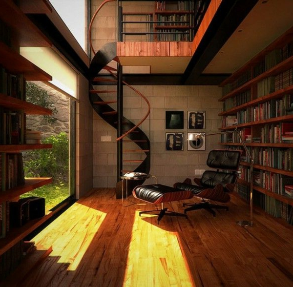 escalier-loft-intérieur-en-bois-ouvert-vers-l'extérieur