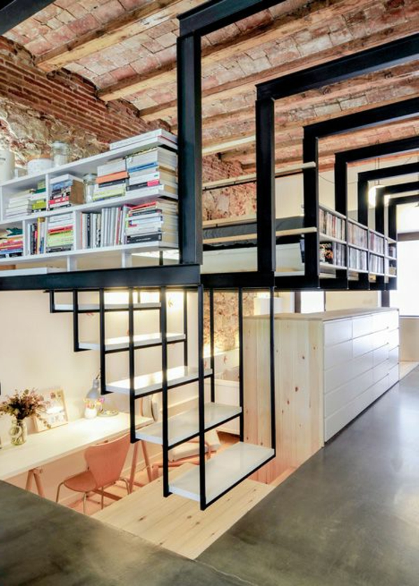 escalier-loft-intérieur-fantastique-office-de-travail-et-chambre-à-coucher