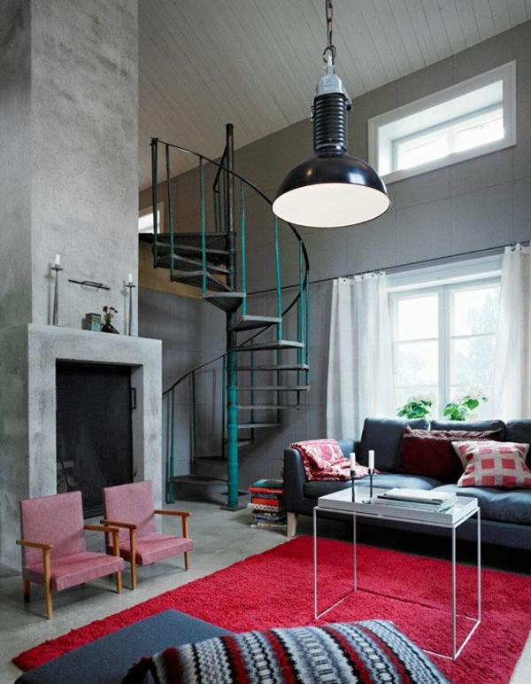 escalier-loft-intérieur-intéressant-grande-suspension-industrielle