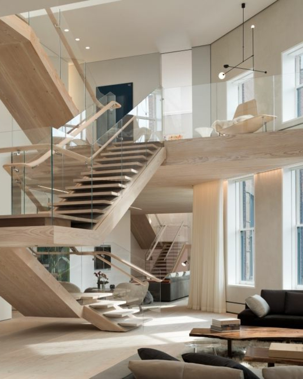 escalier-loft-un-deuxième-étage-unique-le-sol-en-bois