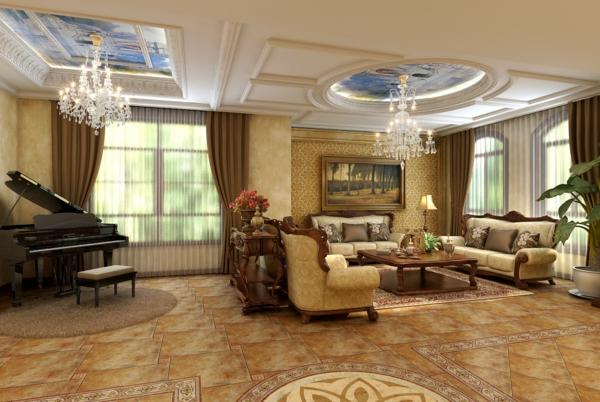 faux-plafond-suspendu-plafonniers-baroques