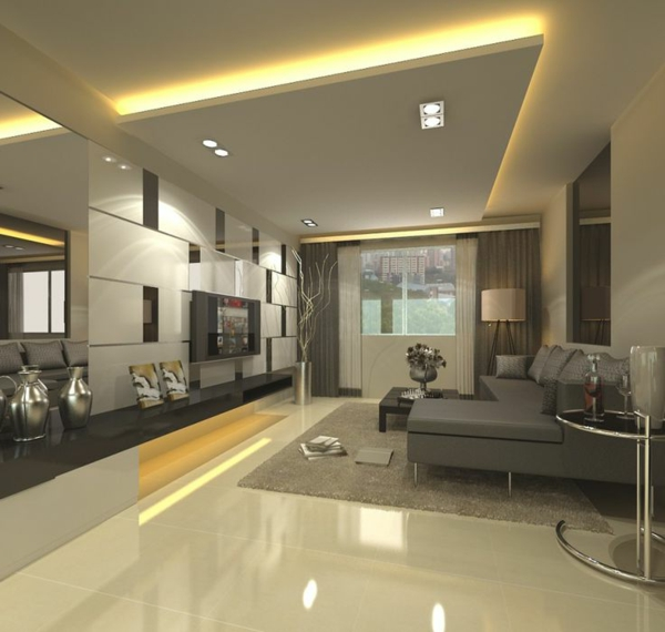 faux-plafond-suspendu-salle-de-séjour-élégante
