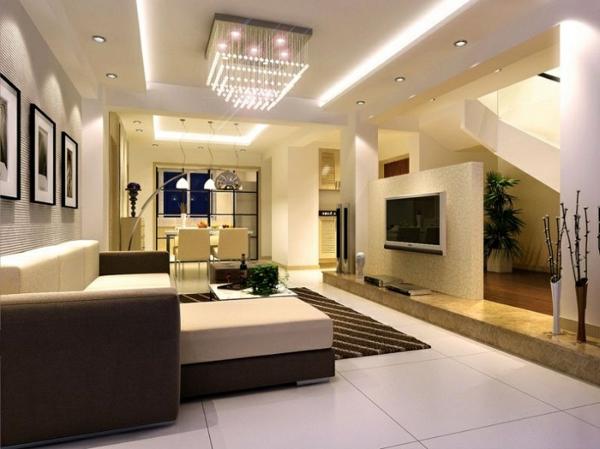 faux-plafond-suspendu-salle-de-séjour-moderne