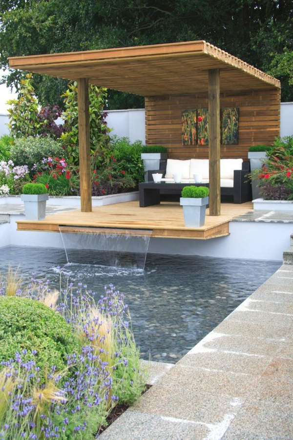 d coration de jardin avec une fontaine pour bassin. Black Bedroom Furniture Sets. Home Design Ideas