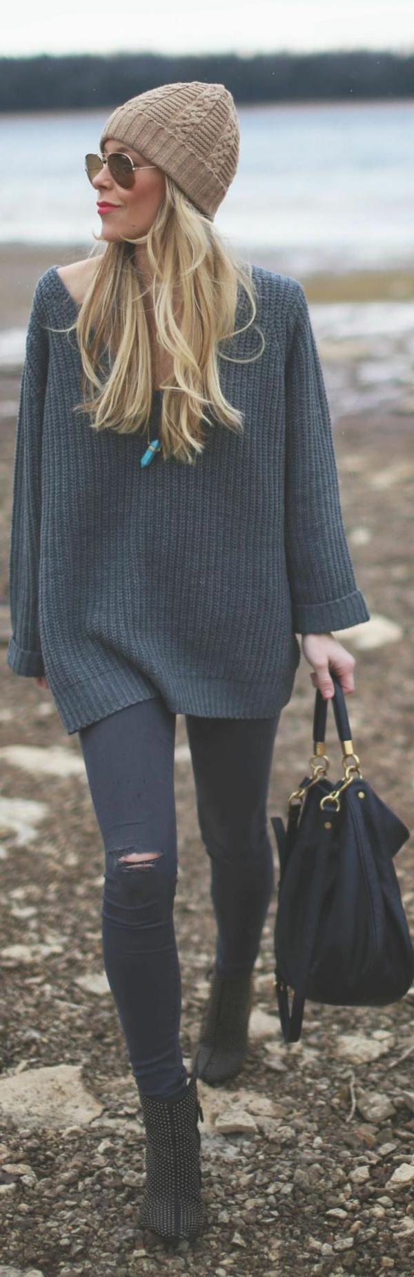 jean-femme-mode-troué-gris