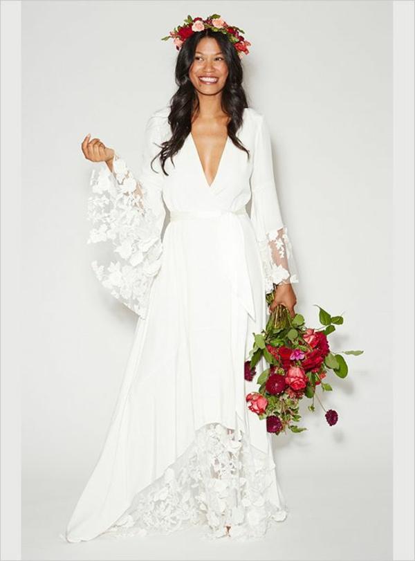 joli-bouquet-de-mariage-idée-créative-femme-heureuse