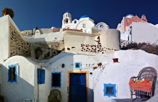 Streets of Firostefani, Santorini island (Thira), Greece.