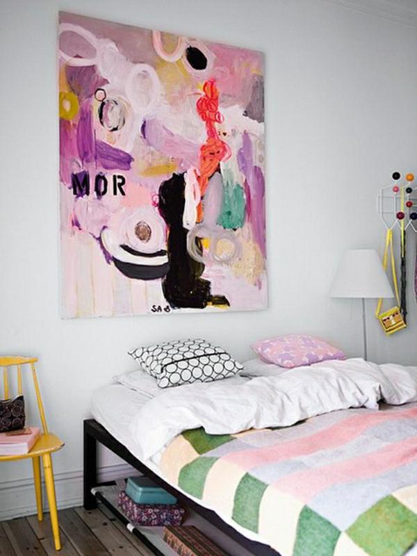 linge-de-lit-coloré-art-chambre