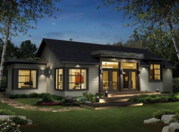 La maison plain pied moderne for Exterieur nuit