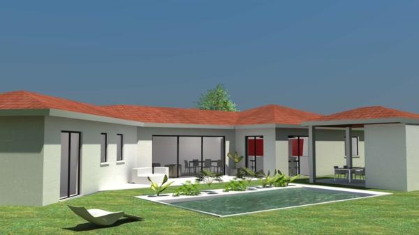 La maison plain pied moderne for Maison en bois contemporaine plain pied