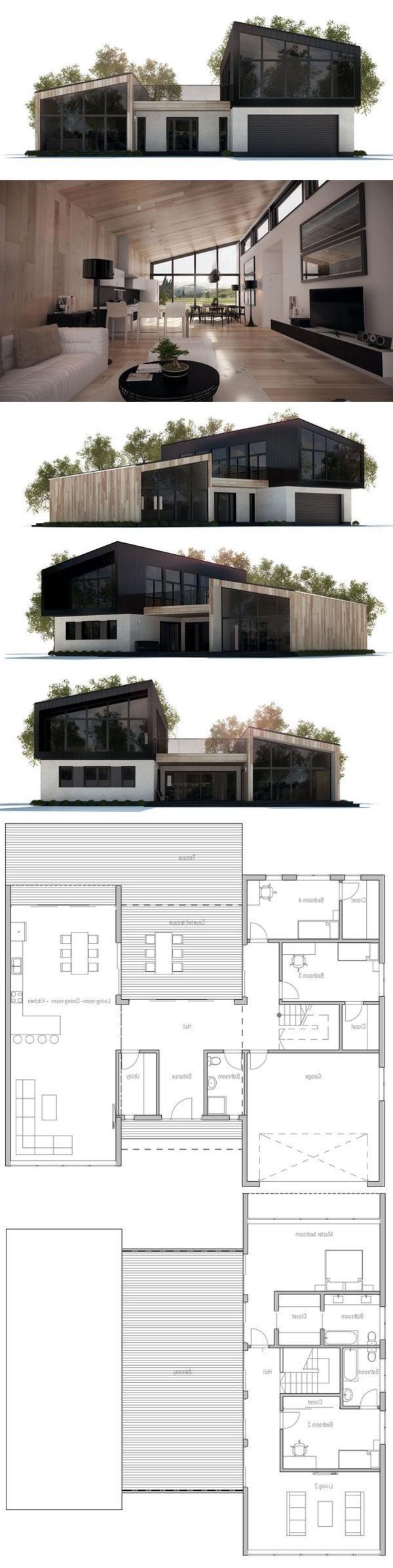 maison-moderne-plain-pied-le-plan-et-l'intérieur