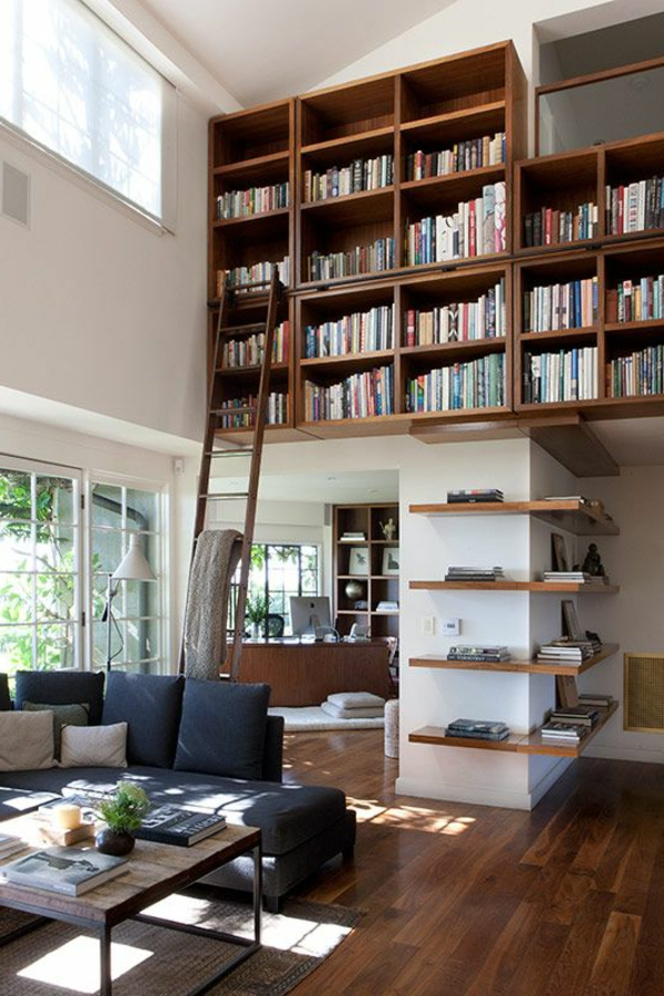 meuble-bibliothèque-avec-échelle-coulissante