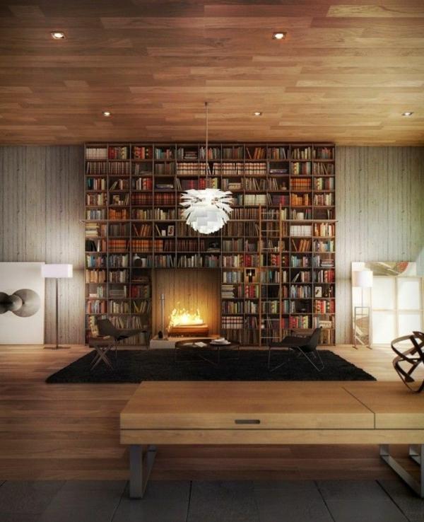 meuble-bibliothèque-avec-cheminée