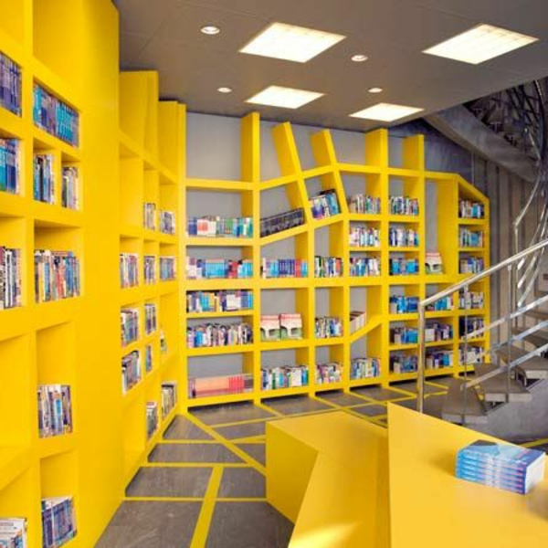 meuble-bibliothèque-bibliothèque-jaune-asymétrique
