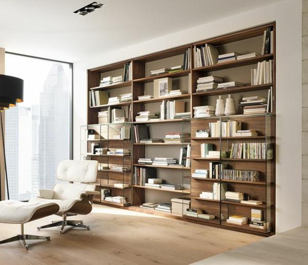meuble-bibliothèque-compartiments-en-bois-et-verre