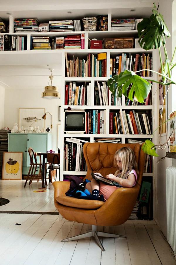 meuble-bibliothèque-et-chaise-en-cuir