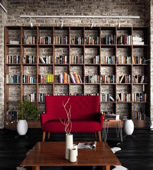 meuble-bibliothèque-et-mur-en-pierre