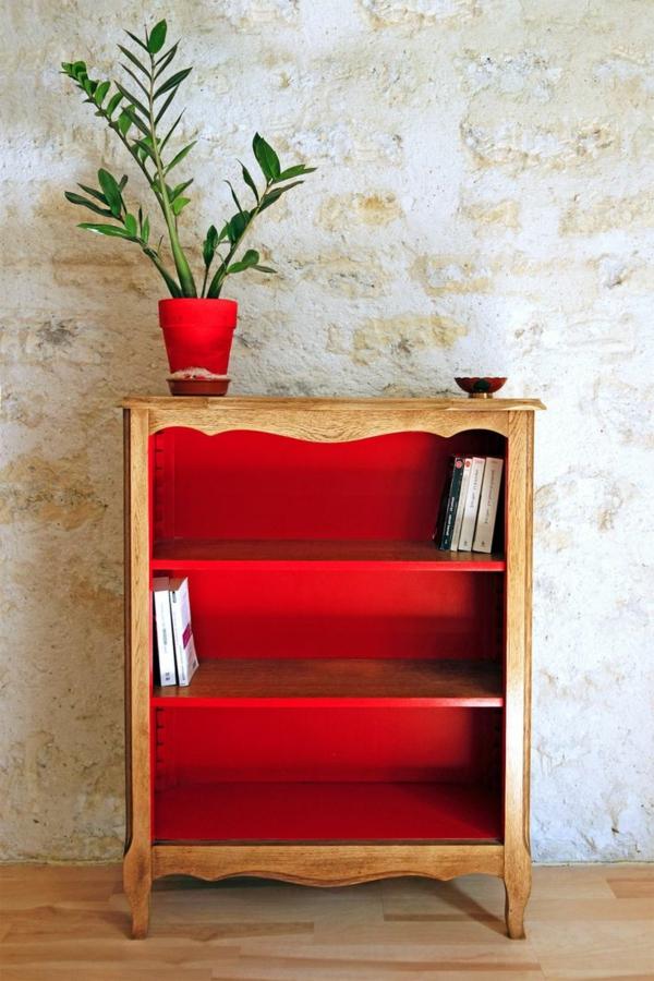 meuble-rouge-bois-livres