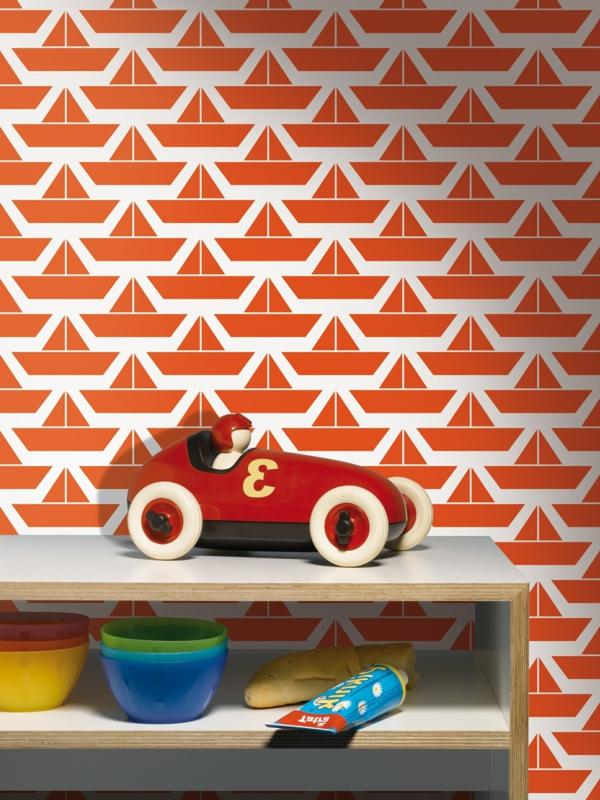 papier-peint-bâteaux-sur-le-mur-chambre-enfant