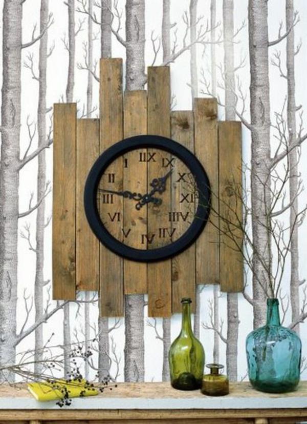 papier-peint-design-original-arbres-bois-horloge