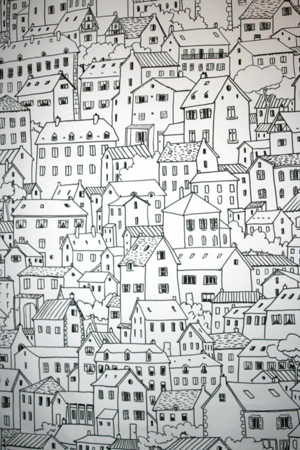 peindre-sur-du-papier-sur-les-murs-maisons