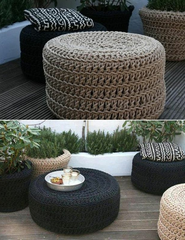 pouf au crochet tabourets et tables basses crochets with tabouret roche bobois. Black Bedroom Furniture Sets. Home Design Ideas