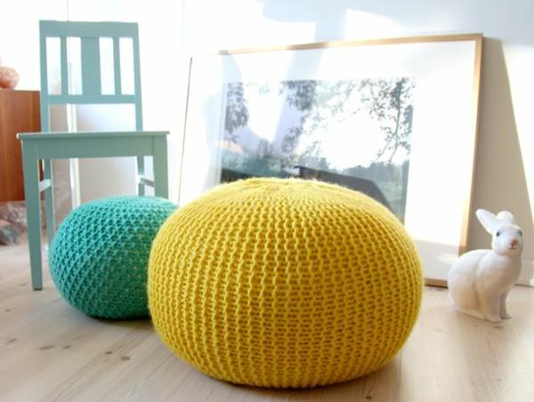Le pouf au crochet confort et beaut la maison - Pouf jaune moutarde ...