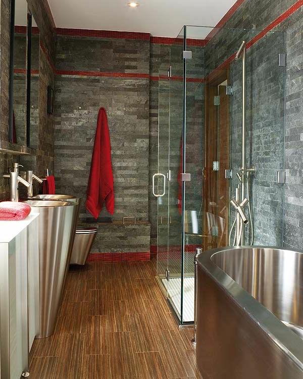 salle-de-bains-grise-avec-plancher-stratifié-des-vasques-uniqueset-baignoire-luisante