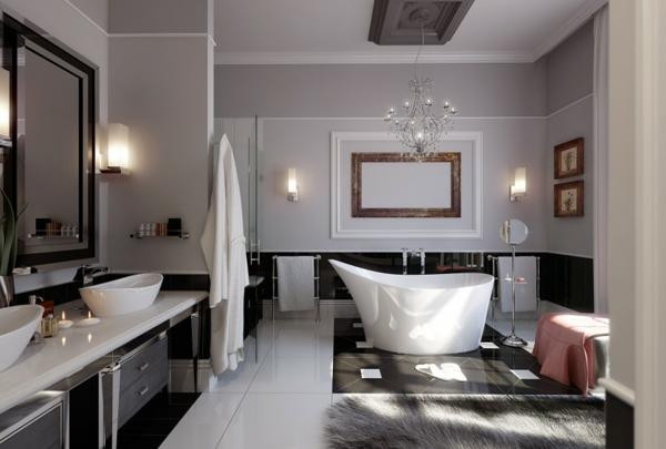 salle-de-bains-grise-baignoire-blanche-autoportante-deux-vasques-blanches