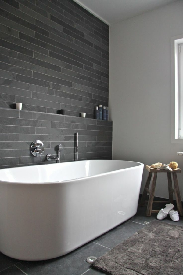 Une salle de bains grise l gance et chic contemporain - Baignoire pas cher leroy merlin ...