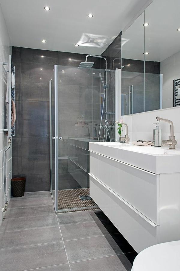 Une salle de bains grise l gance et chic contemporain for Carrelage salle de bain ton gris