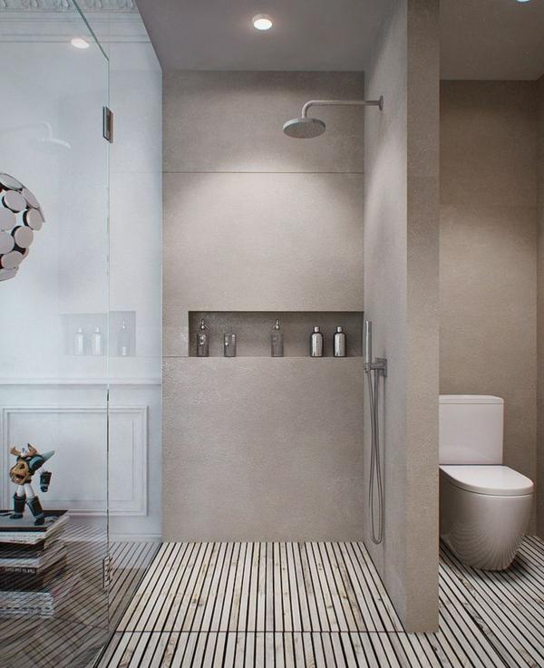 salle-de-bains-grise-rangement-mural-créatif