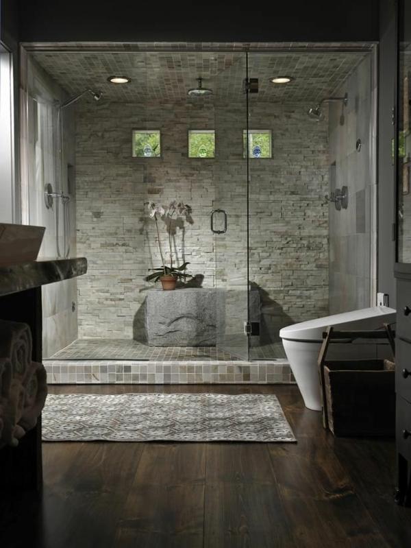 Une salle de bains grise l gance et chic contemporain - Revetement mural original ...