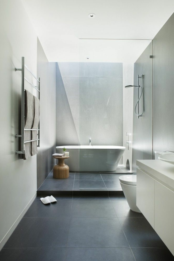 Une salle de bains grise l gance et chic contemporain - Salle de bain sol gris ...