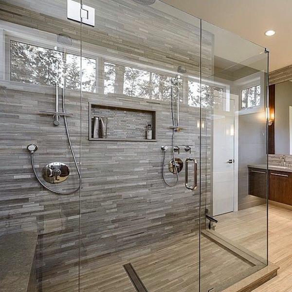 Une salle de bains grise l gance et chic contemporain - Modele de carrelage de salle de bain ...
